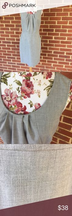 Ann Taylor LOFT sheath dress Workwear basic- neutral gray sheath dress- has pockets!!! Professional- zipper in back - LOFT Dresses