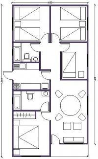 plano de casa de 72m2