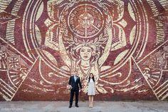 Modern Brooklyn wedding portraits! Street art in DUMBO, Brooklyn. Photography by Everly Studios, www.everlystudios.com