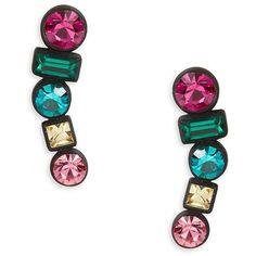 Trina Turk Multi Stone Geometric Drop Earrings ($19) ❤ liked on Polyvore featuring jewelry, earrings, brass, multi color jewelry, drop earrings, geometric earrings, multicolor jewelry and colorful jewelry