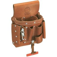 Klein Tools - Extra-Capacity Tool Pouch - This tool belt is constructed of stitched and riveted leather for durability. It includes eight pockets, a knife snap and leather tape thong. Diy Leather Stamp, Leather Craft Tools, Leather Projects, Leather Pouch, Leather Tooling, Klein Tool Bag, Klein Tools, Tool Belt Suspenders, Electrician Tool Pouch