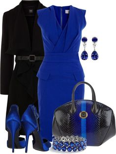 Royal blue work fashion dress