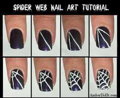 Spider Web Nail Art Tutorial for Halloween Nail Art Fancy Nails, Love Nails, How To Do Nails, Pretty Nails, Nagel Hacks, Halloween Nail Art, Halloween Spider, Halloween Ideas, Halloween Design