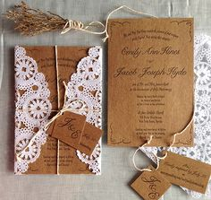 Brown paper, twine and lace wedding invitation packaging | Grove Street Press