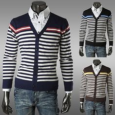 Horizontal Striped Preppy Style Cadigan . Shop Now At  http://sneakoutfitters.com/collections/new-in/products/ao-csbc-sb-q25-so50