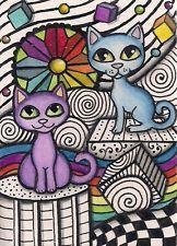 ACEO -  Purple & Blue Cats in Pen & Ink Design- Original Art