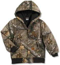 c17ac8cc652 Carhartt Youth Boys  Camo Hooded Flannel Quilt Lined Active Jacket