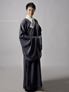 DarkGray Cassocks L Men Cassocks Hanfu Clothing