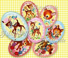 Vintage Fawn digital collage images  30mm x 40mm  3 by JstuffSale
