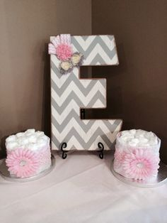 Gray and white chevron and pink baby shower decor.