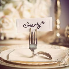 DIY Fork Place Card Holders - Smarty Had A Party Blog