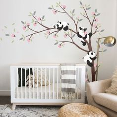 Wall Decal Kids Nursery Pine Tree Wall Decals With Large Bear Wall Decal Wall Mural Stickers Nursery Tree Art Nature Wall Decals Kids Baby Bedroom, Baby Room Decor, Nursery Room, Nursery Ideas, Room Ideas, Wall Decor, Panda Kindergarten, Panda Tree, Pink Blossom Tree