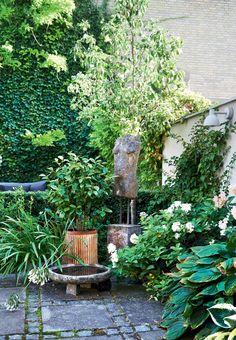 Grøn have inddelt i flere rum