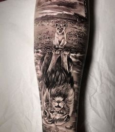 Lion and Cub Tattoo - Best Lion Tattoos For Men: Cool Lion Tattoo Designs and Ideas For Guys #tattoos #tattoosforguys #tattoosformen #tattooideas #tattoodesigns #liontattoo #cooltattoos Lion Head Tattoos, Mens Lion Tattoo, Wolf Tattoos, Leg Tattoos, Black Tattoos, Tattoos For Guys, Animal Tattoos For Men, Phoenix Tattoos, Tattoo Animal
