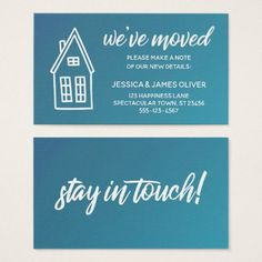"""Little House """"We've Moved"""" Teal & Blue Ombre Card - simple gifts custom gift idea customize"""