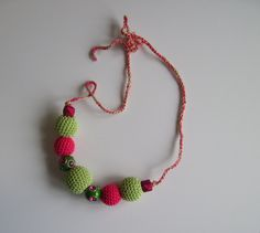 Crochet Covered Bead Necklace - Green and Hot Pink, via Etsy