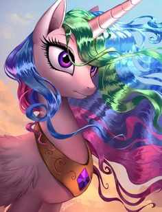 Another painting of MLP My Little Pony Fotos, Imagenes My Little Pony, My Little Pony Pictures, Mlp My Little Pony, My Little Pony Friendship, Princesa Celestia, Celestia And Luna, My Little Pony Princess, Flame Princess