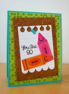 Paper Smooches: Cray Cray Crayon Card by Katie Gehring.