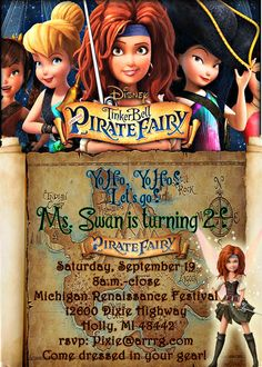 Pirate Fairy Inviation  Pirate Fairy Invite by KidzPartyPrintables