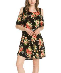 Black Floral Cold-Shoulder Dress #zulily #zulilyfinds
