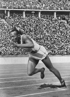 August 3, 1936: Jesse Owens Breaks Records at Berlin Olympics. Here Owens is pictured at start of record breaking 200 meter race during the Olympic games in 1936.  [click on this image to find a bundle of video and analyses related to the sociological study of race and racism]  On this day in 1936, African American sprinter, Jesse Owens, triumphed at the Berlin Olympics, winning his second of four gold medals at the games...