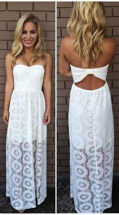 Strapless White Long Maxi Summer Dress