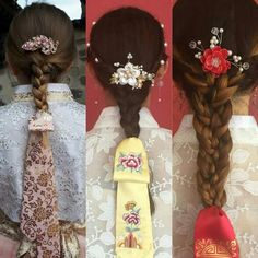 IDEA FOR FABRIC --- Screen print on sheers like chiffon to create lace-esque effects but in a more modern way Traditional Hairstyle, Korean Traditional Dress, Traditional Fashion, Traditional Dresses, Korean Dress, Korean Outfits, Hanbok Wedding, Korean Accessories, Modern Hanbok