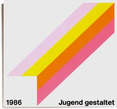 Jugend gestaltet - Graphic Design - Vintage Counter Print Covers, 1986, Swiss Design, International Typographic Style, Pink, Yellow, Orange, Gray