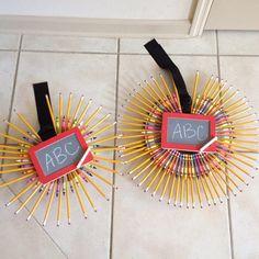 starburst school supply wreaths - back to school teacher gift? - dollar store craft