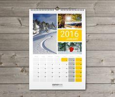 Wall Calendar 2016 design Template KW13 W14 new year Pinterest