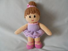 Hand Knitted Doll Ballerina Doll Bella hand made by littledazzler, £12.00