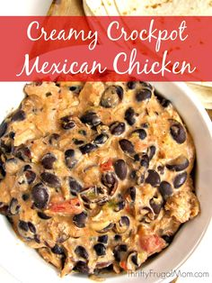 Creamy Crockpot Mexican Chicken-- Short on time? This is one of the easiest recipes you'll ever make! Plus it is also delicious, filling and inexpensive. It's no wonder it's a favorite!