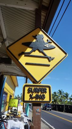 Surfer sign on the North Shore of Oahu, Hawaii