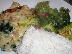 Ovenschotel van florel met creme saus [iets te lang in de oven...erg jammer] en gewokte broccoli met ui en knoflook in Chan's oestersaus.. smakelijke groet, Tammy Wong - Koken Met Specerijen