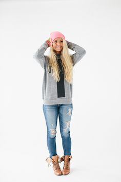 How To Wear // The Cross Gray Crewneck Sweatshirt | walk in love. | Hipster outfit | Fall outfit