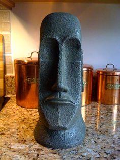Tiki #1 Stone Carving, Wood Carving, Modern Chess Set, Easter Island Statues, Tiki Head, Tiki Statues, Cubist Art, Tiki Totem, Pottery Workshop
