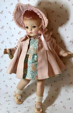 RARE Effanbee 1930's Early Patsy Joan 15 Beautiful little girl with NO crazing and no restoration. Her lovely outfit of pink wool challis coat and