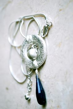 Handcrafted silver pendant with Lapis Lazuli drop. Made by Aparna @ Nine By Thirty.