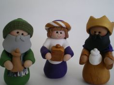 Polymer Clay Christmas 3 Kings Nativity Decoration Wise men by Helen's Clay Art