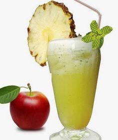 SUCO DE MAÇÃ E ABACAXI - O suco tem propriedades antioxidantes provenientes tanto da maçã quanto do abacaxi, portanto ele ajuda a acelerar o metabolismo, contribuindo para o emagrecimento, e estimula o funcionamento do intestino. Para fazê-lo é preciso bater 1/2 maçã com casca, uma fatia de abacaxi, uma rodela de gengibre e 200 ml de água. O ideal é tomar três copos desse suco por dia (130 calorias a cada 200 ml)