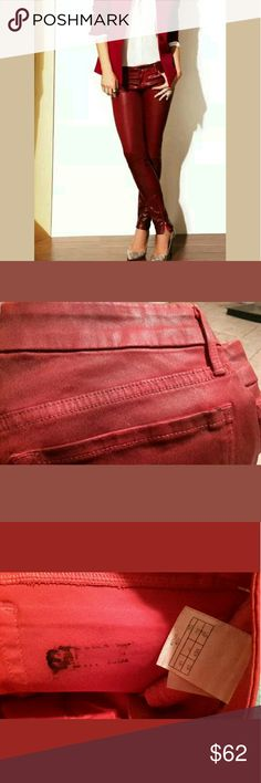 Guess by Marciano Red Coated Skinny Jeans Size 27 NWT  Missing back Guess by Marciano Tag (supposed to have a guess tag on top of the back of the pants where the belt goes) shown in the 2rd picture   Stamped Sample on the inside of the back pocket and has black writing on both pocket on the inside of the pants Guess by Marciano Jeans Skinny