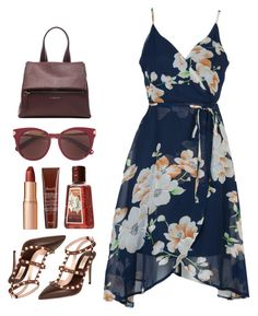 Dark Floral. by refinedpunk on Polyvore featuring polyvore fashion style WithChic Valentino Givenchy Salvatore Ferragamo Charlotte Tilbury Fresh clothing floralprint TropicalVacation