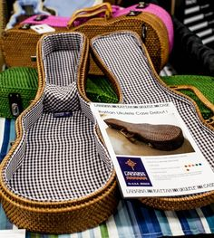 Lanihai Rattan Ukulele Case - At NAMM 2013 not available in US yet - Photo by The Ukulele Site Ukulele Case, Cool Ukulele, Violin Case, Ukulele Chords, Music Love, My Music, Ukulele Design, Ukulele Strings, Guitar Bag