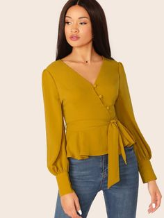 V-Neck Waist Tie Peplum Cuffed Sleeve Blouse Fancy Tops, Trendy Tops, Blouse Styles, Blouse Designs, Casual Clothing Stores, Hijab Fashion Summer, Chic Outfits, Fashion Outfits, Simple Summer Dresses