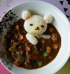 Korilakkuma onigiri in dark curry