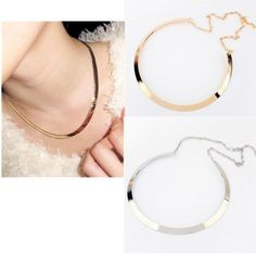 BUC  Retro Fashion Curved Mirrored Metal Collar Bib Choker Necklace Gold/Silver