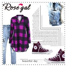 """""""Plaid Split-Neck T-Shirt"""" by pavicmartina ❤ liked on Polyvore featuring Converse"""