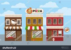 Store facades. Fast food cafe vector illustration for web, or game design