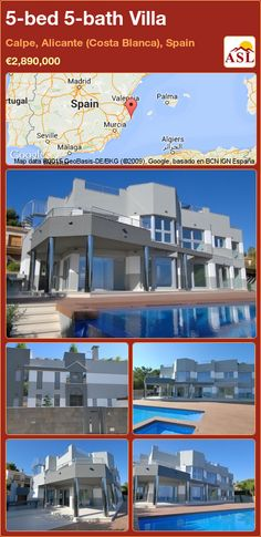 Villa for Sale in Calpe, Alicante (Costa Blanca), Spain with 5 bedrooms, 5 bathrooms - A Spanish Life Murcia, Calpe Alicante, Spanish, Villa, Floor Plans, Bath, Mansions, House Styles, Building