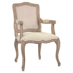 Elegant design meets rustic charm with this lovely wood arm chair. Featuring a woven rattan back and cabriole legs, this sophisticated design is a warm touch...